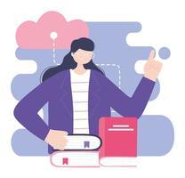 treinamento online, livros de aulas para mulheres ensinando, educação e cursos de aprendizagem digital vetor