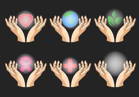 Conjunto de ícones de mãos curando vetor