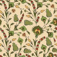 padrão floral sem costura em estilo retro oriental ornamental. fundo abstrato de flores ornamentais vetor
