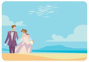 Um casal casado no vetor da praia