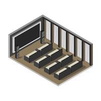 sala de cinema isométrica em vetor em fundo branco