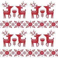 Natal e inverno de malha sem costura padrão ou cartão com veado - estilo escandinávio vetor