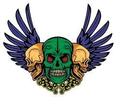 caveira e asas de grunge vetor