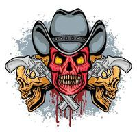 caveira de cowboy grunge e armas vetor