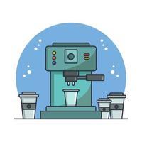 máquina de café ilustrada em vetor em fundo branco