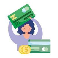 pagamento online, garota com cartão de crédito e dinheiro do banco, compras no mercado de comércio eletrônico, aplicativo móvel vetor