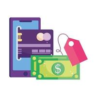pagamento online, transferência de dinheiro com cartão bancário em smartphone, compras no mercado de comércio eletrônico, aplicativo móvel vetor