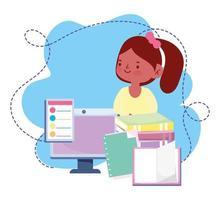 educação on-line, aula de dicionário de livros de computação para meninas, website e cursos de treinamento móvel vetor