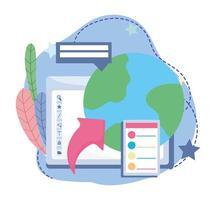 educação online, aula de estudo do mundo da computação, site e cursos de treinamento móvel vetor