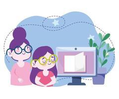 educação on-line, livro de informática para professor aluno, site e cursos de treinamento móvel vetor