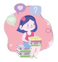 educação online, aluna sentada com livros de conhecimento, website e cursos de treinamento móvel vetor