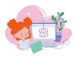 educação on-line, livro de literatura do notebook do computador da aluna, site e cursos de treinamento móvel vetor