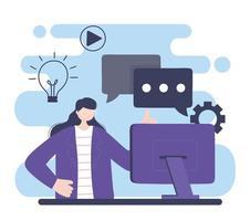 treinamento online, mulher com educação em informática e cursos de aprendizagem digital vetor