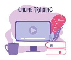 treinamento online, livros de sites de vídeo de computador e xícara de café, educação e cursos de aprendizagem digital vetor
