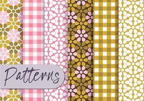 Conjunto de padrões decorativos de azeitona rosa