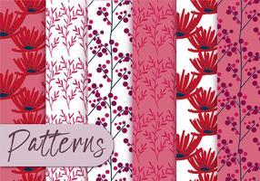 Conjunto de padrões florais vermelhos vetor