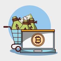 carrinho de compras de laptop bitcoin com sacos de dinheiro criptomoeda digital vetor