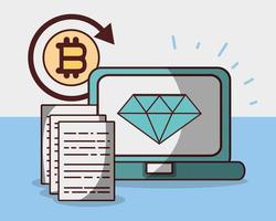 bitcoin diamante criptomoeda laptop negociar dinheiro digital vetor