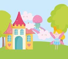 pequena fada princesa cogumelo arco-íris castelo conto cartoon vetor