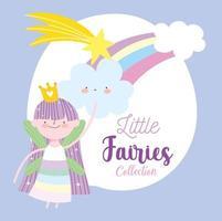 pequena fada princesa arco-íris tiro estrela nuvens conto desenho animado