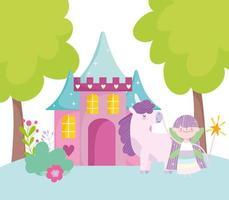 pequena fada princesa unicórnio castelo de fantasia mágica desenho animado vetor