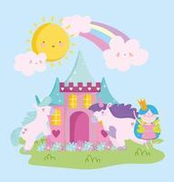 pequena fada princesa unicórnios castelo flores arco-íris desenho animado vetor