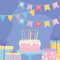 feliz aniversário, bolo doce com velas, presente, surpresas e desenho animado de decoração de celebração de flâmulas vetor