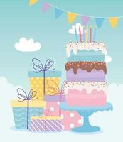 feliz aniversário, bolo com velas e caixas de presente celebração decoração cartoon vetor