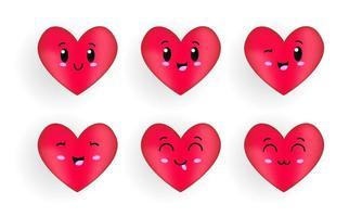 personagem de desenho animado de coração com coleção de rosto kawaii vetor