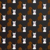 fundo padrão de animal de estimação com gato e cachorro vetor