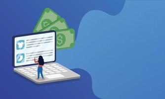 compras de comércio eletrônico online com mulher no laptop e dinheiro