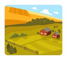 Paisagem da fazenda plana vetor