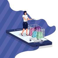 compras de comércio eletrônico on-line com mulher comprando e smartphone