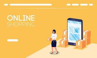 compras de comércio eletrônico online com mulher levantando caixas e smartphone