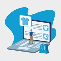 compras de comércio eletrônico on-line com o homem no laptop e na bolsa