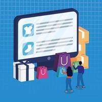 compras de comércio eletrônico on-line com casal comprando no desktop