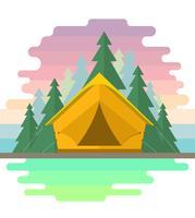 Ilustração de acampamento linear vetor