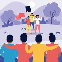 pessoas inter-raciais fortes protestando contra personagens
