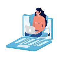 avatar de mulher no laptop em desenho vetorial de chat por vídeo