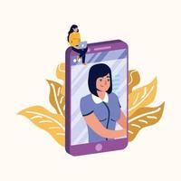 mulher com laptop em desenho vetorial de smartphone