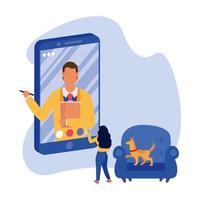 homem em smartphone em vídeo chat mulher e cachorro em cadeira de desenho vetorial