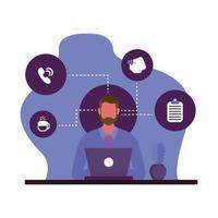 homem com laptop e conjunto de ícones de design vetorial
