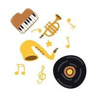 disco de vinil de música com instrumentos