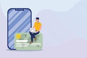 compras de comércio eletrônico online com homem usando laptop com cartão de crédito e smartphone