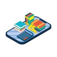 tablet eletrônico com ebook e calculadora vetor