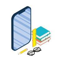 aparelho smartphone eletrônico com e-books e suprimentos vetor
