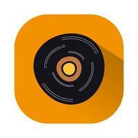 ícone isolado de disco de vinil de música vetor