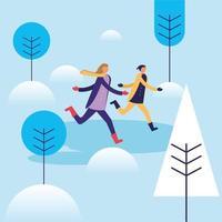mulher e homem correndo no design de vetor de neve