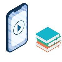aparelho smartphone eletrônico com e-books vetor