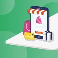 compras de comércio eletrônico online com embalagens de compras no smartphone